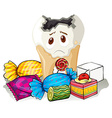 Tooth decay and sweet candy vector image