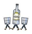 vodka walks on its feet sketch engraving vector image