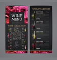 wine menu design with alcohol ink texture vector image