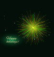 yellow green fireworks greeting place for text vector image vector image