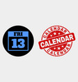 13 friday calendar page icon and grunge vector image vector image