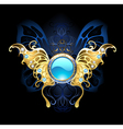 Banner with Gold Wings of a Butterfly vector image vector image
