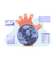 big hand controlling world economic and finance vector image