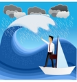 business man floating on a sailboat vector image