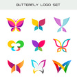 Butterfly colorful logo set Vivid colors butterfly vector image vector image