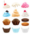 cakes collection realistic cupcakes creation kit vector image vector image