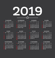 calendar 2019 isolated on dark background week vector image