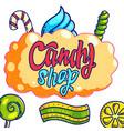 candy shop hand drawn logo design vector image vector image