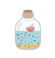 cartoon underwater world in a bottle exotic sea vector image vector image