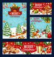 christmas holiday card with santa snowman gift vector image vector image