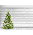 christmas tree on white brick wall background vector image vector image