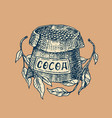 cocoa beans grains and bag vintage badge or logo vector image vector image