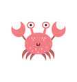 cute crab in cartoon style sea life character vector image