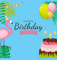 cute happy birthday background with pink flamingo vector image vector image