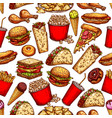 fast food snacks desserts seamless sketch pattern vector image vector image