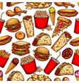 fast food snacks desserts seamless sketch pattern vector image vector image