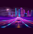 Future metropolis highway neon cartoon