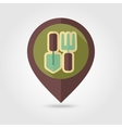 Garden tool flat mapping pin icon with long shadow vector image vector image