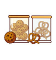 glass jars with cookies and pretzels food dessert vector image vector image