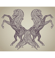 hand drawn couple of horses in graphic ornamental vector image vector image