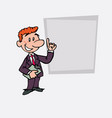 happy red hair businessman is showing as in a vector image vector image