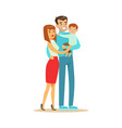 happy young couple and cute baby boy father vector image