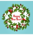 Holiday tree wreath with snow design vector image vector image