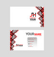 jh logo on red black business card vector image vector image