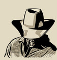man with cowboy hat and checkered shirt western vector image vector image