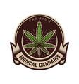 medical marijuana emblem template with cannabis vector image vector image