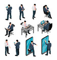 men with device isometric set vector image vector image