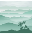 Mountains with palm tree in the fog vector image vector image