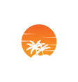 negative space circle palm tree and orange sun vector image vector image