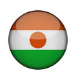 niger flag in glossy round button of icon niger vector image