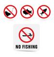 no fishing sgn set vector image vector image