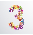 number three from numbers vector image