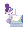 online education teacher with laptop computer vector image vector image