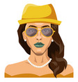 pretty girl wearing yellow hat and glasses on vector image vector image