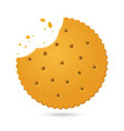 round biscuit crackers with bite marks vector image