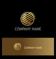 round stripe technology gold logo vector image