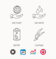 save planet water and battery icons vector image vector image