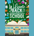 school student supplies and book on blackboard vector image vector image