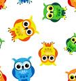 Seamless cartoon owls vector image vector image