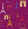seamless pattern with landmarks of paris vector image vector image