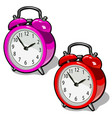 set of cute vintage alarm clock pink and red color vector image