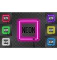 set of neon square frames on transparent vector image vector image
