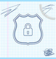 shield security with lock line sketch icon vector image vector image