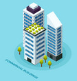 skyscraper buildings with green plants on roof vector image