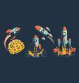 space rocket various designs flies in vector image vector image