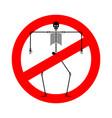 stop death skeleton forbidden red road sign no vector image vector image